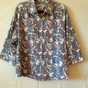 Foxcroft Paisley button-down top size 20 Y 123